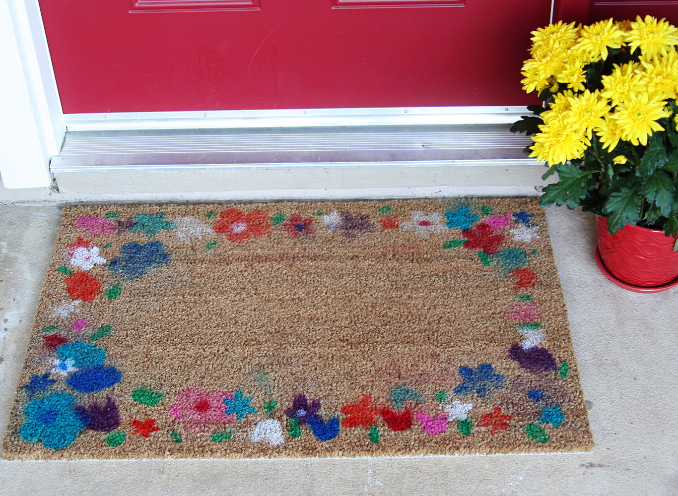 Airbrush Flower Doormat