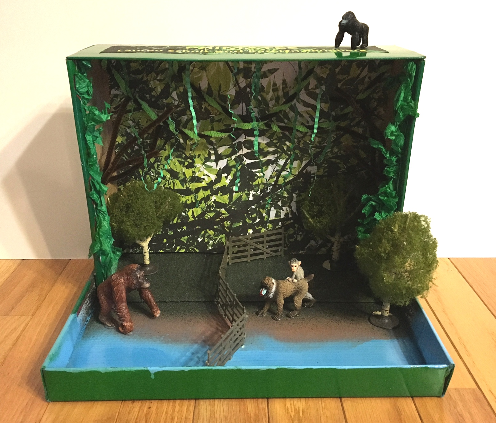 Kids Diorama With Details: Primate Animal Habitat Diorama For Science Class