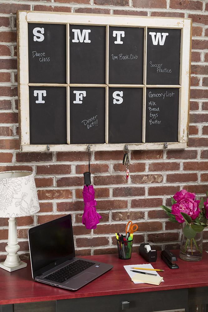 DIY Farmhouse Window Chalkboard Calendar Keeps You Task