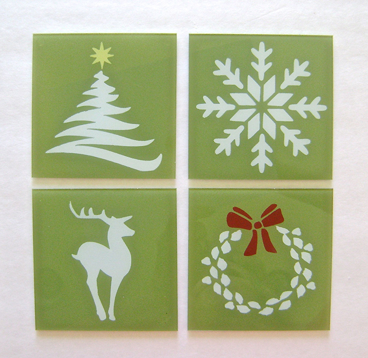 Green Holiday  Glass Coasters