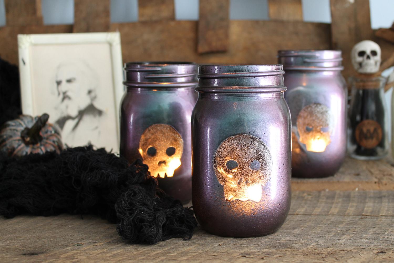 mason jar halloween spray painted lanterns