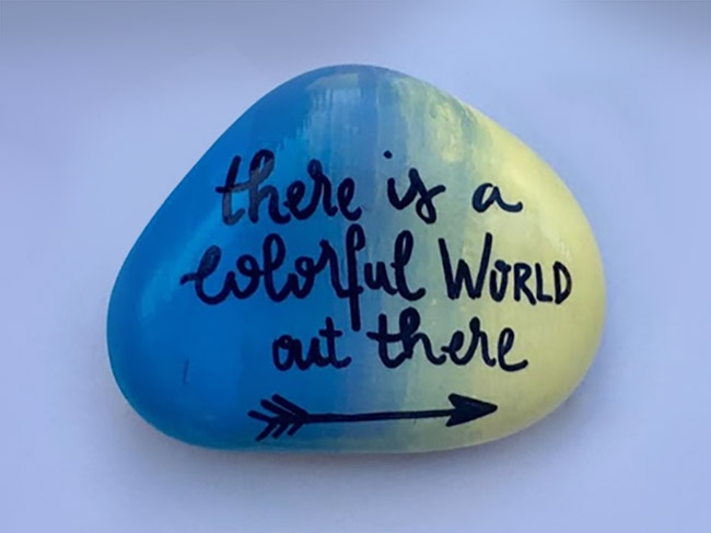 Ombre Painted Word Rock