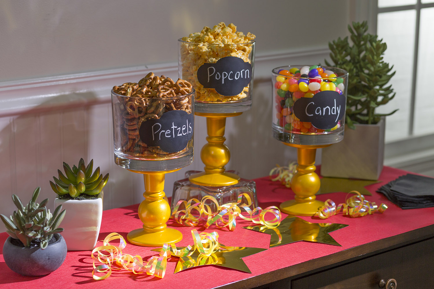 Testors Pure Gold & CreateFX Chalkboard Spray Paint Oscar Party Jars