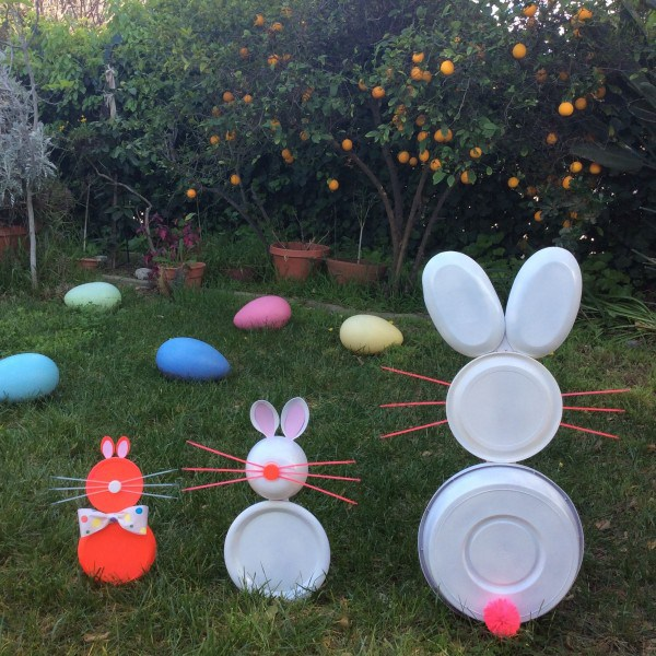 Recycled Plate Bunnies