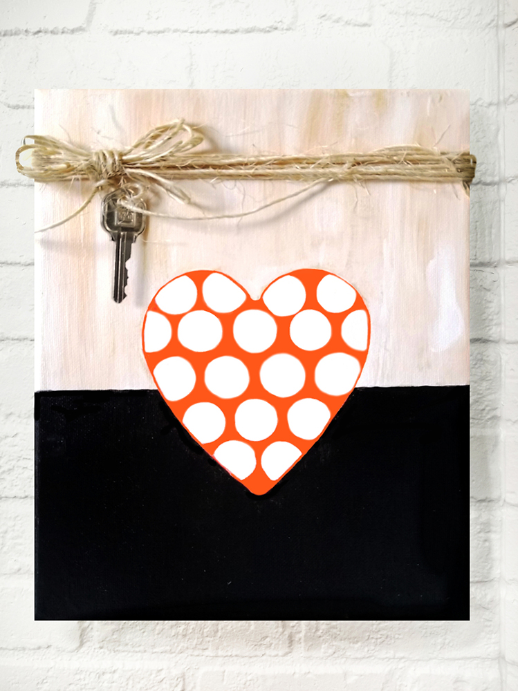Valentines Day Key To My Heart Painted Canvas